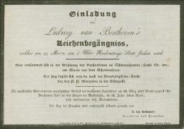 Einladung zu Ludwig van Beethovens Leichenbegräbnis 29. März 1827, Druck; Beethoven-Haus Bonn, © Beethoven-Haus Bonn