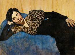 Lotte Laserstein, Liegendes Mädchen auf Blau, um 1931, Privatbesitz Berlin, Courtesy Das Verborgene Museum, Berlin, Foto: Das Verborgene Museum, Berlin © VG Bild-Kunst, Bonn 2019