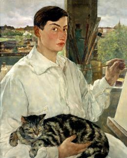 Lotte Laserstein, Selbstporträt mit Katze, 1928, New Walk Museum and Art Gallery, Leicester, Reproduced courtesy of Leicester Arts and Museums Service © VG Bild-Kunst, Bonn 2019