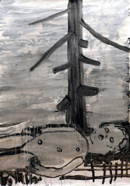 Getzner Christoph u. Markus - Die Gewissheit der Unsicherheit, 2020, Chinatusche und Eitempera auf Papier, 180x120cm  © Getzner Christoph & Markus
