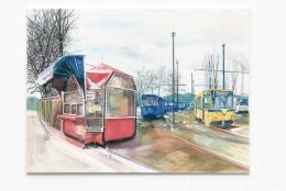 Moni K Huber, Remise Sarajevo, Collage Guache auf Leinwand, 190x140 cdm, 2020 © Courtesy of the artist