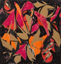 Lee Krasner, Bird Talk, 1955, Collage aus Ölfarbe, Papier und Textil auf Baumwollduck, 147.3 x 142.2 cm, Privatbesitz, New York, Foto: Sotheby's © The Pollock-Krasner Foundation