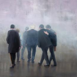 Ingmar Alge, Konferenz, 2018, Öl auf Leinwand 182 x 182