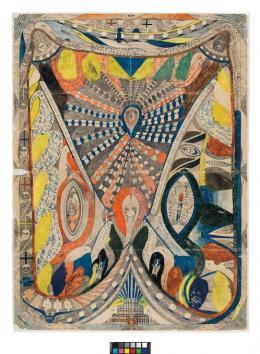 Adolf Wölfli: Paris=Spinne, 1909/10, Bleistift u. Farbstift auf Papier, © Adolf Wölfli Stiftung, Kunstmuseum Bern