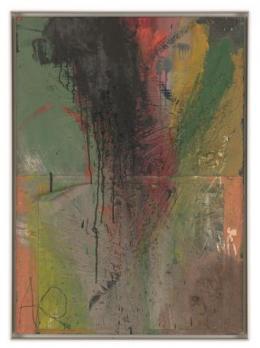 Arnulf Rainer, Ohne Titel, ca. 1982-90 Öl auf Karton und Foto auf Holz ca. 105,5 x 76,5 cm Leihgeber: Arnulf Rainer Foto © Christian Schepe