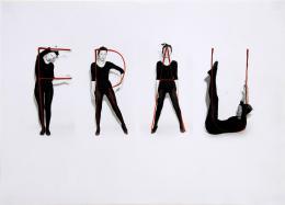 Birgit Jürgenssen, Frau, 1972 S/W-Fotografie, überzeichnet; 28 x 39 cm; Unikat; SV_181_2008 © Estate Birgit Jürgenssen / Courtesy Galerie Hubert Winter, Wien / Bildrecht Wien 2021 / Sammlung Verbund, Wien