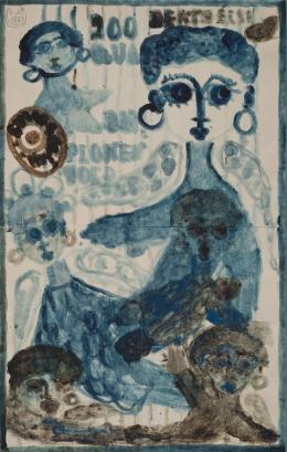 """Else Blankenhorn, """"200 Quaduplonen Gold"""" [Geldschein], vor 1921, Deckfarben auf Schreibpapier, 26,9 x 17 cm, Inv.-Nr. 1863 © Sammlung Prinzhorn, Universitätsklinikum Heidelberg"""