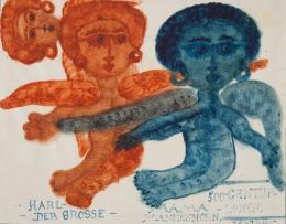 """Else Blankenhorn, """"Karl der Grosse - Mama Blankenhorn"""" [Geldschein], vor 1919, Zeichnung, 18 x 22,8 cm, Inv.-Nr. 3497 © Sammlung Prinzhorn, Universitätsklinikum Heidelberg"""