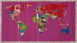 Alighiero Boetti, Mappa, 1988. Stickerei auf gewebter Baumwolle auf Keilrahmen, 120 x 214.6 cm; Kunstmuseum Basel / © 2019, Pro Litteris, Zurich. Photo Credit: Kunstmuseum Basel / © 2019, Pro Litteris, Zurich