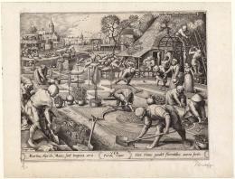 Pieter Bruegel d. Ä., Zeichner Pieter van der Heyden, Stecher Hieronymus Cock, Verleger Tulpengärtnerei, 1570, Kupferstich auf Bütten, 26.8 x 34.9 cm, Kunstmuseum Basel, Kupferstichkabinett