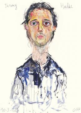 Guillaume Bruère Porträt von Jeremy Huldi im Kunsthaus Zürich, 2018 Buntstifte, Ölkreide und Acryl auf Papier, 200 x 148 cm Courtesy the artist, © Guillaume Bruère