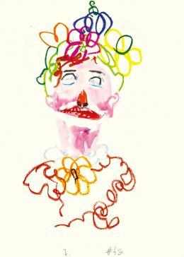 Guillaume Bruère: Zeichnung nach Cindy Sherman im Kunsthaus Zürich, 2014. Buntstifte, Ölkreide und Aquarell auf Papier, 70 x 50 cm; Courtesy the artist, © Guillaume Bruère