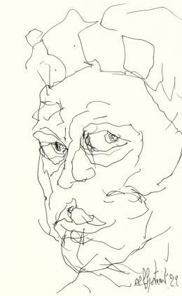 Guillaume Bruère: Zeichnung nach Alberto Giacometti im Kunsthaus Zürich, 2014. Bleistift und Filzstift auf Papier, 21 x 13 cm; Courtesy the artist, © Guillaume Bruère