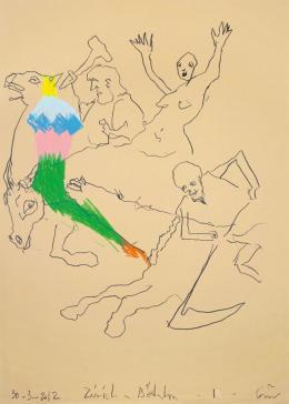 Guillaume Bruère: Zeichnung nach Arnold Böcklin im Kunsthaus Zürich, 2012. Buntstifte auf Papier, 70 x 50 cm; Courtesy the artist, © Guillaume Bruère