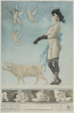 Albert Bertrand (nach Félicien Rops), Pornokrates, 1896, Kolorierter Stich nach Aquarellvorlage, 69,5 × 45,6 cm, Sammlung Musée Félicien Rops, Province de Namur © Musée Félicien Rops, Province de Namur