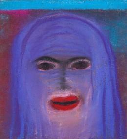 Miriam Cahn: o.T., 8.7.18. Pastel und Stoff auf Papier, 28 x 32 cm; Courtesy of Miriam Cahn, Galerie Meyer Riegger and Galerie Jocelyn Wolff. Foto: Markus Mühlheim