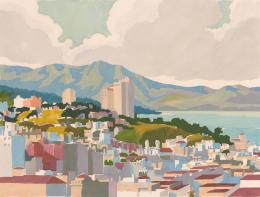 Harold John Brothers: Russian Hill, San Francisco, 1945. Farbschablonendruck; Fine Arts Museums San Francisco. © Foto: Fine Arts Museum of San Francisco