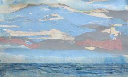 Gottfried Salzmann - Ciel et vagues I - 2019, Aquarell, Acryl, Collage auf Papier auf Leinwand, 73,6 x 120,4 cm  © Galerie Welz