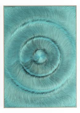 Coalescence (Black, Iridescent blue green) 2018 Acryl und Öl auf Leinen 70 x 50cm