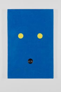 Stefan Gritsch, Blue cat (Selbstporträt), 2018/2019 Acrylfarbe auf Aluminiumplatte, 24 x 16 x 1 cm Courtesy der Künstler © 2018, ProLitteris, Zürich Foto: ullmann.photography