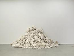 """300 Kamelköpfe aus Moskau wurden am 3.3.2005 an die Wand der Kunsthalle Bielefeld geworfen"", 2005, Gips, Maße variabel, Courtesy of the artist © Not Vital, Foto: Eric Gregory Powell"