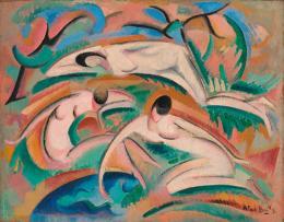 Alice Bailly, Femmes couchées, o. J.. Öl auf Leinwand, 45.7 x 56 cm; Aargauer Kunsthaus, Aarau / Depositum Sammlung Werner Coninx. Foto: SIK-ISEA, Zürich (Philipp Hitz)