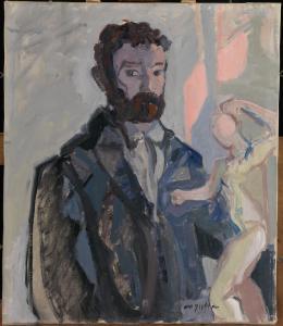 Hermann Scherer, Im Atelier, 1925–1926 Öl auf Leinwand, 118 x 89 cm Aargauer Kunsthaus, Aarau / Depositum Sammlung Werner Coninx © Nachlass Hermann Scherer Foto: SIK-ISEA, Zürich (Philipp Hitz)