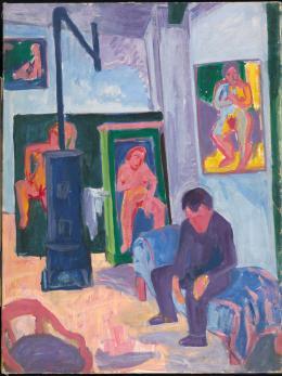 Hermann Scherer, Im Atelier, 1925-1926. Öl auf Leinwand, 118 x 89 cm; Aargauer Kunsthaus, Aarau / Depositum Sammlung Werner Coninx. © Nachlass Hermann Scherer; Foto: SIK-ISEA, Zürich (Philipp Hitz)