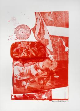 Robert Rauschenberg Ape , 19 69  Aus der  Stoned Moon Series 3-Farblithografie auf Special Arjomari  Papier Galerie Ziegler, Zürich  ©    Robert  Rauschenberg  Foundation / VG Bild- Kunst, Bonn / Bildrecht, Wien, 2019,  Foto:  © 1969 Robert Rauschenberg and  Gemini G.E.L.