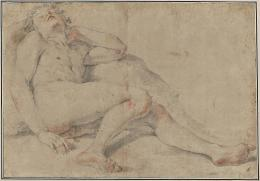 Giovan Gioseffo Dal Sole Schlafender Jüngling, um 1680/1700 Schwarze und rote Kreide auf bräunlich-grauem Papier, 37,1 x 54 cm Kunsthaus Zürich