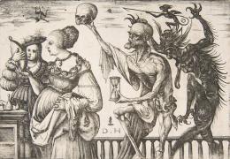 """Daniel Hopfer, """"Tod und Teufel überraschen zwei Frauen"""", ca. 1510–1515, Radierung © The Metropolitan Museum of Art, New York"""