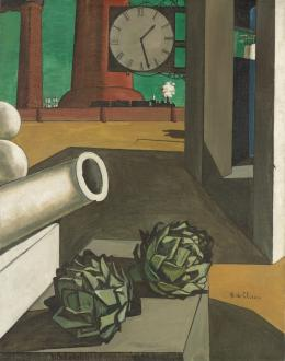 Giorgio de Chirico, Die Eroberung des Philosophen (La Conquête du philosophe), Januar 1914, Öl auf Leinwand, 125,1 × 99,1 cm, The Art Institute of Chicago, Joseph Winterbotham Collection © VG Bild-Kunst, Bonn 2021, Foto: © bpk / The Art Institute of Chicago / Art Resource, NY