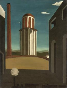 Giorgio de Chirico, Die Rückkehr des Dichters (Le Retour du poète), April 1914, Öl auf Leinwand, 87 × 65 cm, Aga Khan Foundation © VG Bild-Kunst, Bonn 2021, Foto: © Photo Courtesy, Genève, Fondation Aga Khan