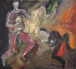 Martin Disler (1949-1996), Theater des Überlebens, 1995, Acryl auf Leinwand, 190x210 cm, Privatsammlung