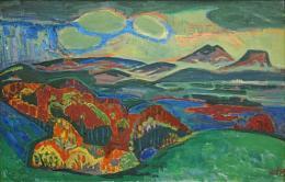 Otto Dix: Grüne Landschaft, 1948. Öl auf Karton: (c) VG Bild-Kunst, Bonn 2019