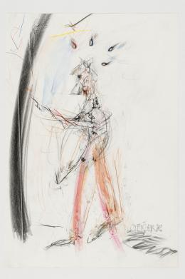 """Dominik Steiger, """"Selbstbildnis"""", 1967,  Mischtechnik auf Papier, 29 x 20 cm, Sammlung Ph. Konzett"""