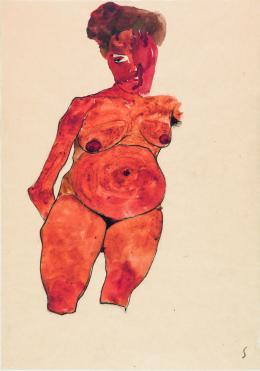 Egon Schiele, Frontale Ansicht eines Frauentorsos mit dickem Bauch, 1910, Gouache, Aquarell, Kohle auf Papier, 45,1 x 31,7 cm © Sammlung E. und H. H.