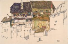 Egon Schiele, Alte Häuser in Krumau, 1914 Bleistift, Pinsel, Deckfarben auf Japanpapier © Albertina, Wien