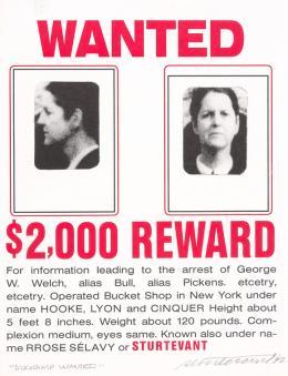 Elaine Sturtevant, Duchamp Wanted, 1992, Farbiges Offset auf festem Velin  © TLM