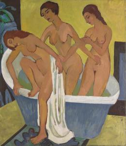Ernst Ludwig Kirchner (1880-1938), Badende Frauen (Triptychon-Mittelbild), 1915/1925, Öl auf Leinwand, 196x171 cm, Kirchner Museum Davos; © Kirchner Museum Davos