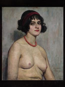 "Emmy Paungarten, ""Selbstporträt als Halbakt"", 1912,  Öl auf Leinwand, 63 x 53 cm, artandtrade – Peter Znidaric, Graz"