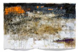 Jakob Kirchmayr, Erinnerungen an das Meer, 2018, 113 x 180 cm, Farbstift, Gesso, Ölkreide, Tusche, Acryl auf Papier | Foto: Jakob Kirchmayr © Bildrecht, Wien 2019