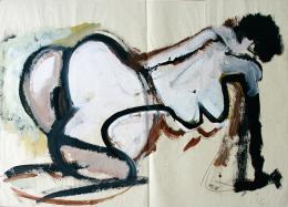 Emil Toman, Ohne Titel, 1990er Jahre, Mischtechnik auf Papier, gerahmt in Museumsglas, 90 x 125 cm in 92,6 x 127,6 cm; © zs art galerie