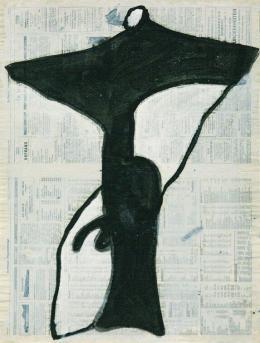 Emil Toman, Ohne Titel, 1994, Mischtechnik auf Zeitungspapier (Die Presse, 8.10.1994), 62 x 47 cm; © zs art galerie