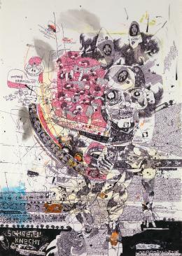 Filib Schürmann, schreibknecht gottes, aus «die loorbeerblätter, ein berühmter», 2011. Acryl, Tinte und Farbstift auf Papier, 100 x 70 cm. © Sammlung Kunst(Zeug)Haus