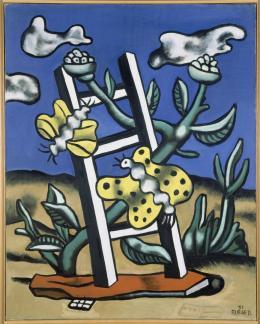 """Fernand Léger, """"Deux papillons jaunes sur une échelle"""", 1951,  Courtesy Musée national Fernand Léger, Biot. Schenkung der Lutèce Foundation, 1978, Foto: © Centre Pompidou, MNAM-CCI, Dist. RMN-Grand Palais - © Jacques Faujour, © Bildrecht Wien, 2019"""