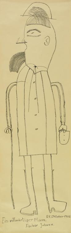 Johann Fischer, Ein vollwärtiger Mann, 1982, Kohle, 183 x 56 cm (c) Privatstiftung - Künstler aus Gugging