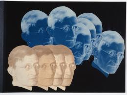 """Porträt Josef Albers, Positiv-Negativ-Collage, aus """"9 jahre bauhaus. eine chronik"""" (Abschiedsgeschenk der Bauhäusler für Walter Gropius), 1928. Bauhaus-Archiv Berlin"""