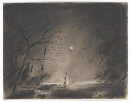 Fred Uhlman, Landschaft mit Erhängtem (aus »Captivity«), 1940, Staatsgalerie Stuttgart, © The Estate of Fred Uhlman
