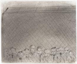 Fred Uhlman, Menschen hinter Stacheldraht (aus »Captivity«), 1940, Staatsgalerie Stuttgart, © The Estate of Fred Uhlman